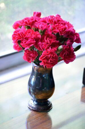 Bright pink carnations, cut flower arrangement, in heirloom silver vase. 版權商用圖片