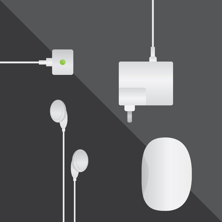 earphones, adapter and usb mouse Фото со стока - 34992925