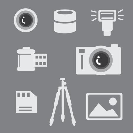 vdo: camera photo button icon vector set Illustration