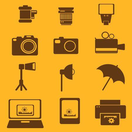 flash camera photo vector icon set Çizim