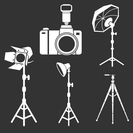 mini umbrella: photo camera flash tripods studio equipment vector set Illustration