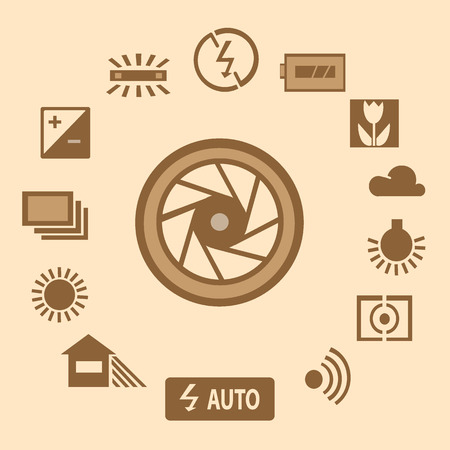 Photography icon set Ilustrace