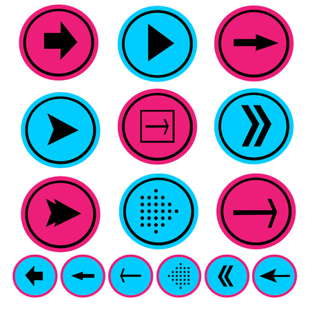 score board: pink and blue arrow icon set