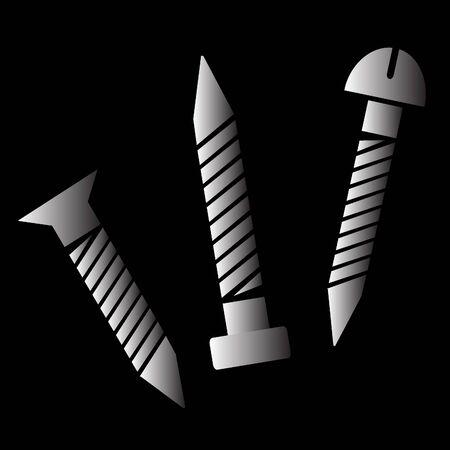 tack: nail tack 3D vector icon