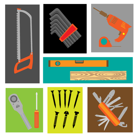 technological mechanic tools vector set Illustration