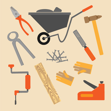 habiliment: carpenter equipment tools set Illustration