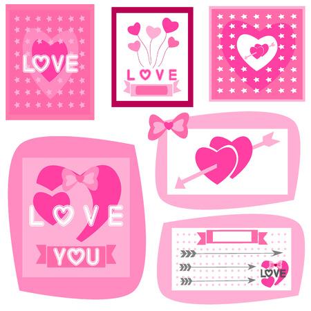 3 d illustrations: Love Letter of paper hearts set Illustration