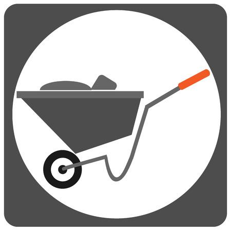 Cement cart vector icon