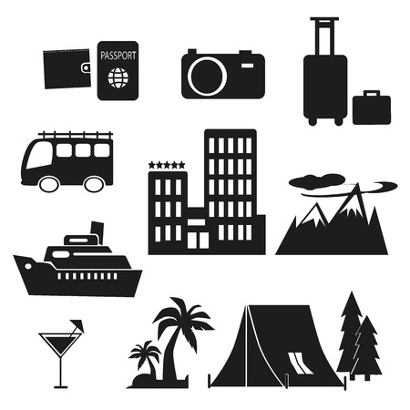 black and white travel journey icon