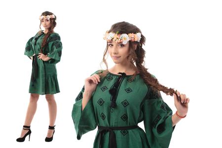 Double portrait of Pretty Ukrainian woman in ukraine natiomal costum