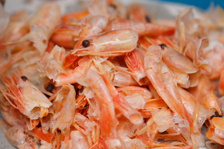 Food scraps from Shrimp peeled on the plastic plate,recycle concept