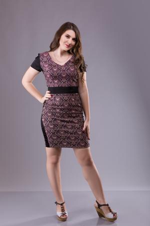 Porträt eines weiblichen Modells der Plusgröße, das im broun Kostüm über grauem Hintergrund aufwirft. Schöne Frau mit curvy Abbildung.