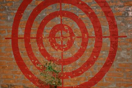 Red Target on the red brick wall. Graffiti. They hit the target with a broom. Fragments are flying