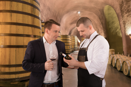 Portrait two men tasting with red wine in a vineyard. Professional winemakers standing in front of wine cellar and consulting. Stock Photo