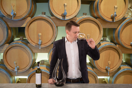 Young handsome man sommelier tasting red wine in wine cellar