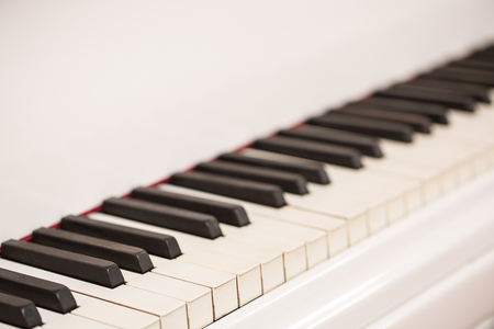 Piano keys viewed from above. Close up