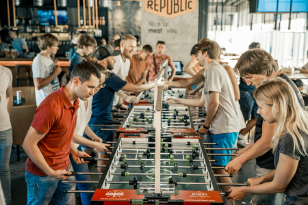 KYIV, UKRAINE, bar league of Grants KickerKicker 10 June 2018. Active men and women have fun during table soccer game. Competitions and qualifying round Editorial