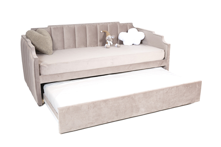 Full-size folding sofa-bed light brown fabric with storage space, isolated on white background, saved path selection.