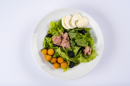 Tuna with salad. Salad with tuna, cheese fries, eggs on white plate Reklamní fotografie