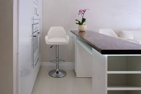 Interior of a new modern apartment in scandinavian style with kitchen and workplace. Bar counter and chair in the home white kitchen