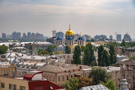 View from window on Saint Volodymyr s cathedral and old town in Kiev,Ukraine
