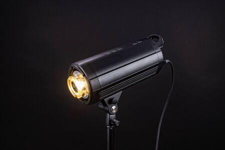Head of studio flash strobe lamp light.