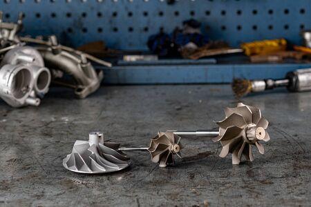 Spare parts for car on a car workshop Stok Fotoğraf