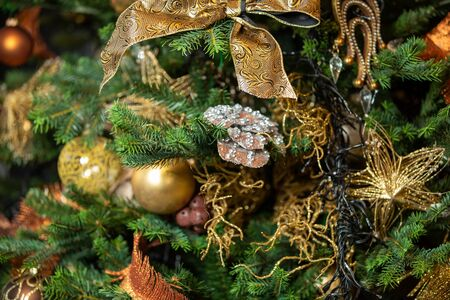 Christmas decorations on the Christmas tree, snowflakes, balls, garlands, closeup, texture, background New year concept Stock Photo