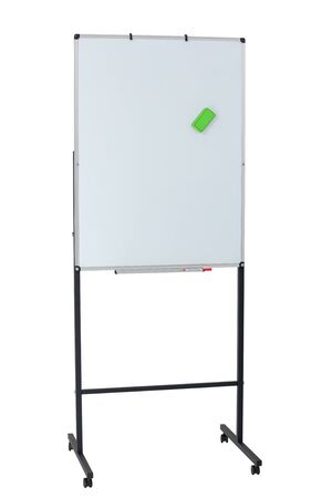 Magnetic board for markers on two legs on wheels isolated on a white background. The concept of study and planning.