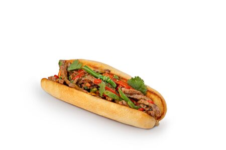 Hot dog with asparagus and minced meat with bell pepper isolated with shadow on white background.
