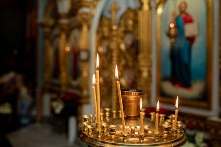 church. Orthodox Church. Christianity. church lighted candles. icon.