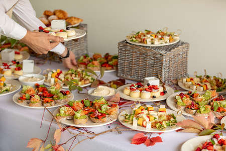 Catering buffet table with a delicious food Archivio Fotografico