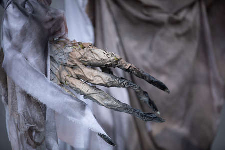scary Halloween monster hands with long finger nails. props Archivio Fotografico