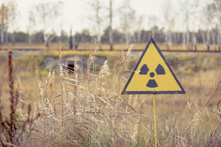 Ionizing Radiation sign next to Red Forest in Chernobyl Nuclear Power Plant Zone of Alienation, Ukraine 版權商用圖片