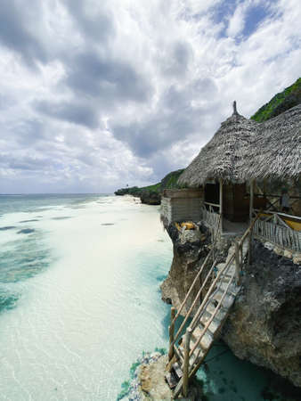 Beautiful view of the ocean and the authentic observation deck in Zanzibar 版權商用圖片