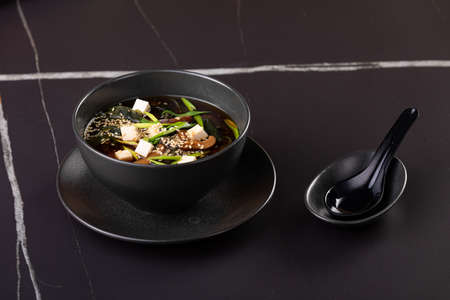 Miso soup, Japanese Food on black background