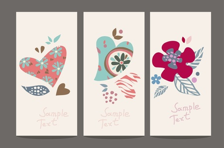 cute flowers: flower hearts three cards  Illustration
