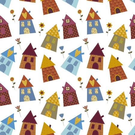 patchwork: house multicolour pattern  Illustration