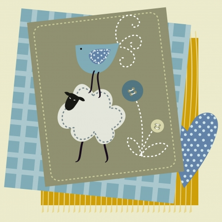 patchwork: Stock Illustration: sheep button bird patchwork