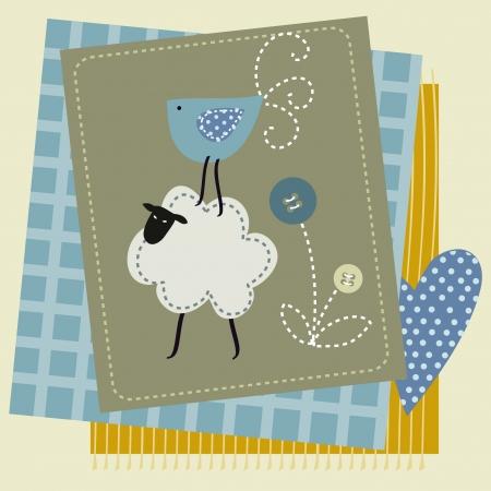 variety: Stock Illustration: sheep button bird patchwork