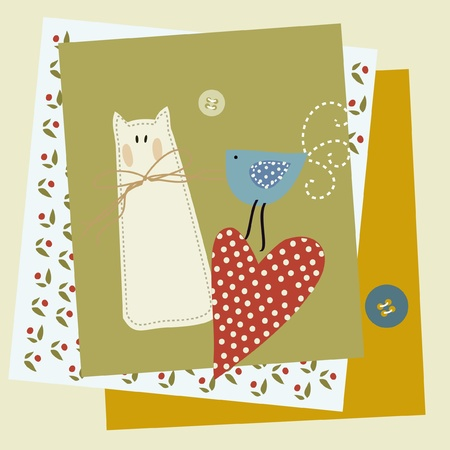 patchwork: textile patchwork cat bird heart Illustration