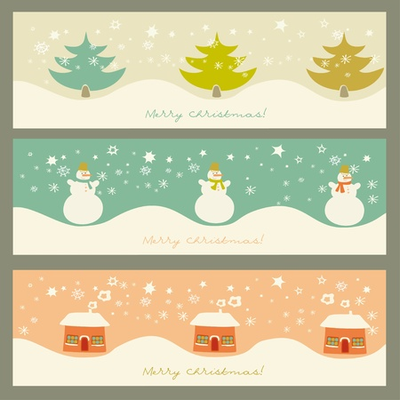 three decorate cards  Vector