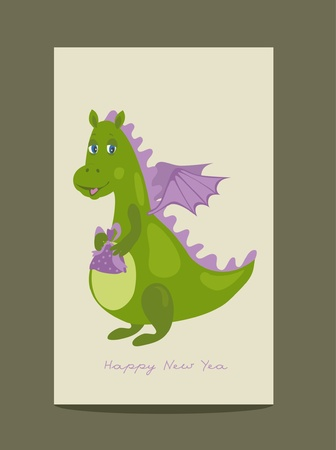 dragon green gift Vector