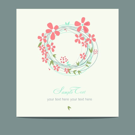 flower wreath cards  Illustration