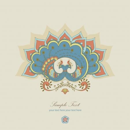 indien muster: magischen blauen Pfau Illustration