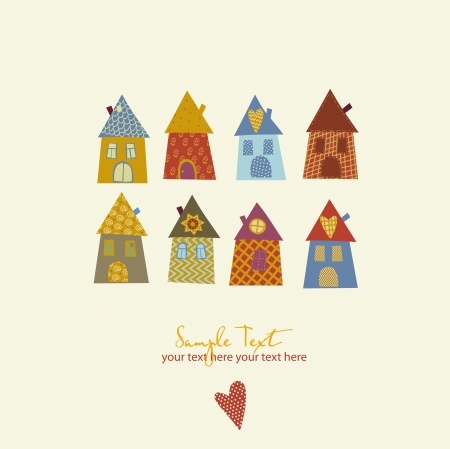 home moving: Collection of cute houses in a whimsical childlike style.  Illustration