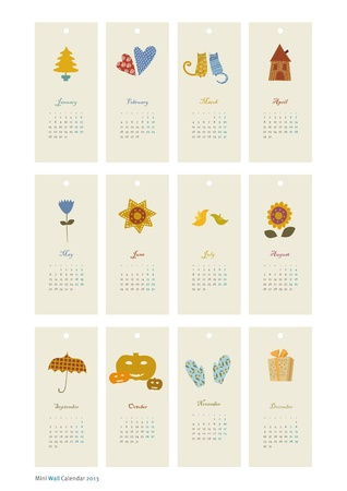 winter solstice: 2013 Calendar set with vertical banners or cards  Illustration