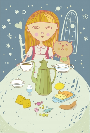 season s greeting: girl with cat evening dinner