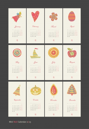 winter solstice: 2013 Calendar set with vertical banners or cards