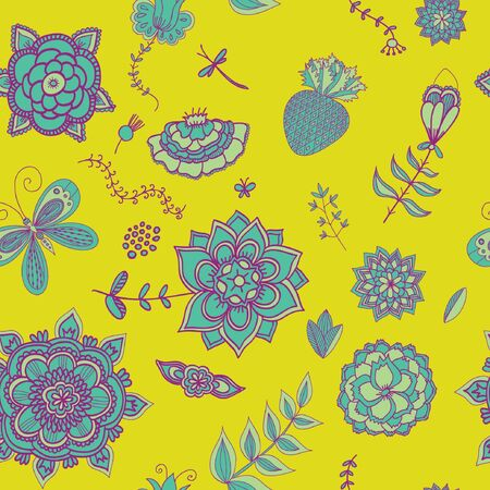 bird of paradise: Seamless pattern with flowers lotus, floral illustration in vintage style